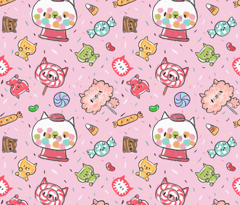Kawaii Kitty Candy Wallpaper Designed By Dramacatz