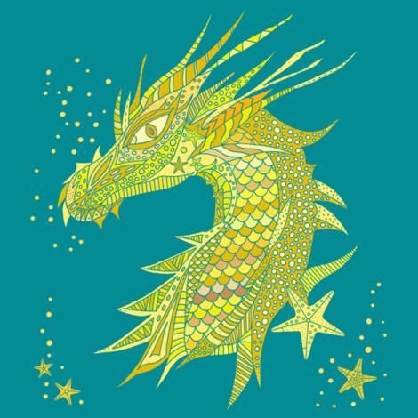 Sea Dream - Goldmarine - Sea Dragon Yellow fabric by de-ann_black on Spoonflower - custom fabric