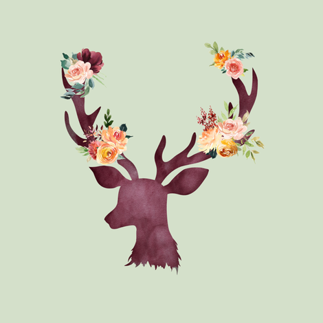 "8"" Autumn Wine Floral Deer // Sage fabric by hipkiddesigns on Spoonflower - custom fabric"