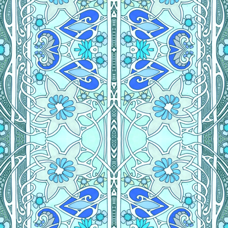 Twisted Blue Columns of Spring fabric by edsel2084 on Spoonflower - custom fabric