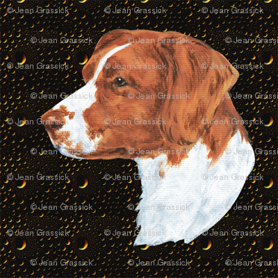 Brittany spaniel on hammered metal
