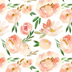 modern pink peach blush soft watercolor floral