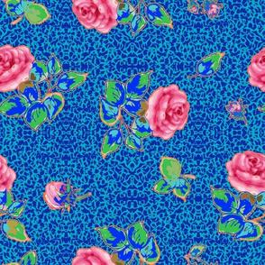 vintage roses - blue texture