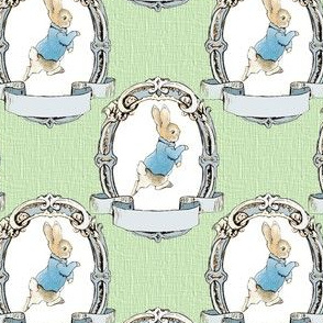 Peter Rabbit in shabby Chic Oval Frame - Moss Green