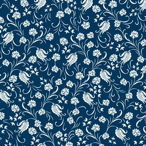 Blue&white flowers fabric by dariara on Spoonflower - custom fabric