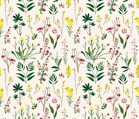 WILDFLOWER_STUDY_LIGHT fabric by holli_zollinger on Spoonflower - custom fabric