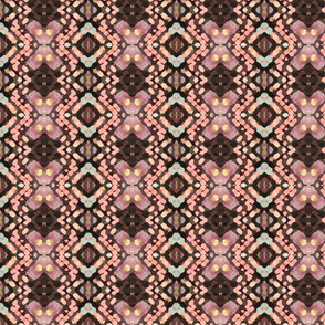 Pink and Brown Smudge Ikat 1
