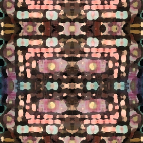 Pink and Brown Smudge Ikat Plaid