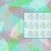2018 Banana Leaves in Bright Green, Pink & Aqua