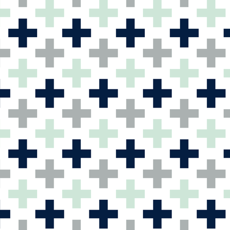 (small scale) Multi Cross // Northern Lights - grey/navy/mint fabric by littlearrowdesign on Spoonflower - custom fabric