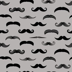 mustaches on grey