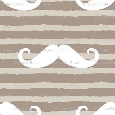 mustache on stripes ( beige)