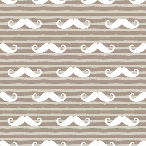 mustache on stripes ( beige) fabric by littlearrowdesign on Spoonflower - custom fabric