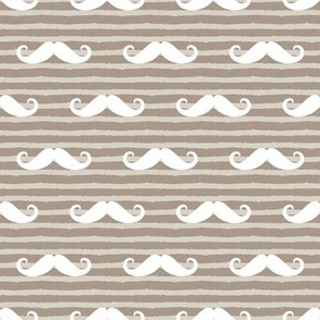 mustache on stripes ( beige)