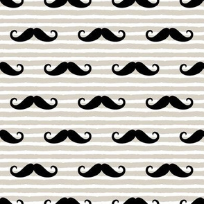 mustache on stripes (black on beige)