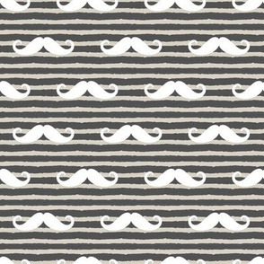 mustache on stripes (beige and charcoal)