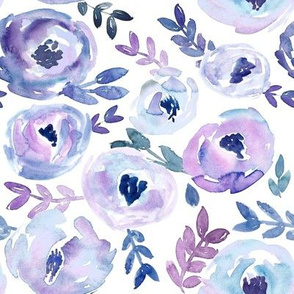 Ultra Violet Loose Abstract Winter Watercolor Floral
