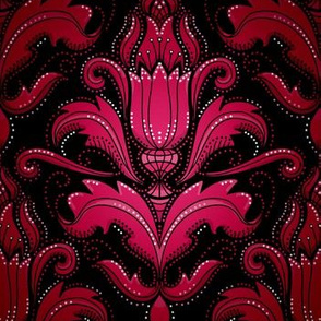 Decadent damask, pink and red