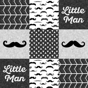 little man mustache wholecloth - monochrome