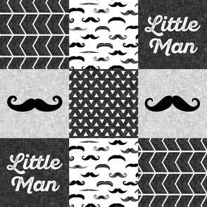 little man mustache wholecloth - monochrome