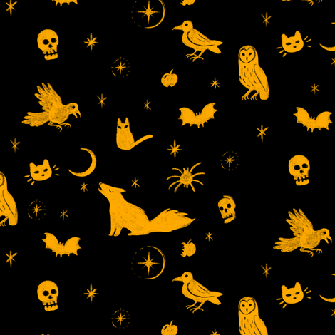 Spooky in Pumpkin Inverse fabric by mclairet on Spoonflower - custom fabric