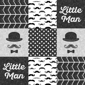 Little Man Wholecloth - Monochrome Mustache w/hat and bowtie