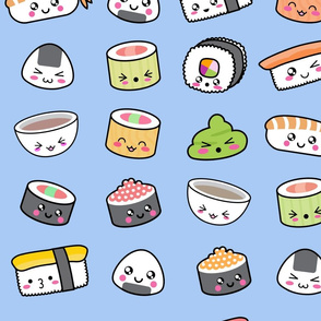 Happy kawaii sushi pattern