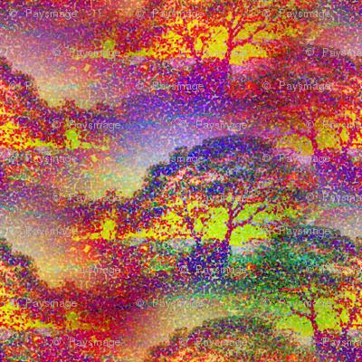 POINTILLIST JUNGLE SAVANNAH SUNSET TREES