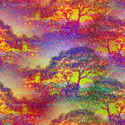 POINTILLIST JUNGLE SAVANNAH SUNSET TREES