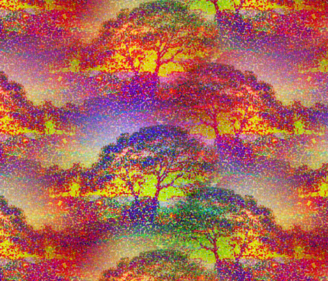 POINTILLIST JUNGLE SAVANNAH SUNSET TREES fabric by paysmage on Spoonflower - custom fabric