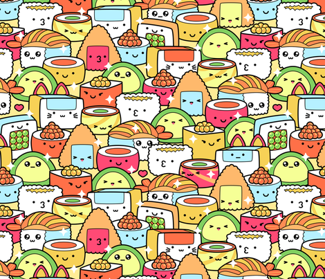 Colorful Kawaii Sushi with Sparkles fabric by hollybender on Spoonflower - custom fabric