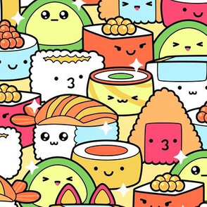 Colorful Kawaii Sushi with Sparkles