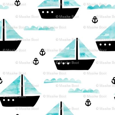 Watercolor sailing boat under water ocean life marine anchor boats blue