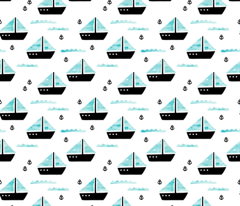 Watercolor sailing boat under water ocean life marine anchor boats blue fabric by littlesmilemakers on Spoonflower - custom fabric