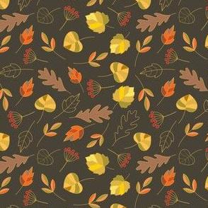 Autumn colorful leaves, dark.