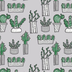 hand drawn potted cactus plants