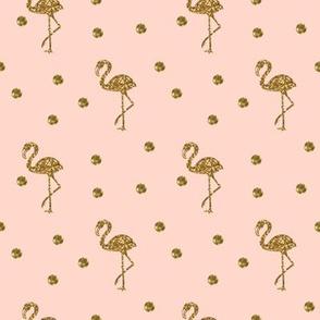 Flamingo Gold polka dots on blush pink