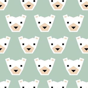 Geometric winter polar bears sweet Scandinavian animals gender neutral green