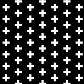 Small White Crosses on Black - Black Plus Signs