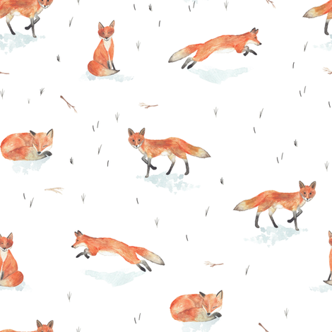 Winter Fox  fabric by shelbyallison on Spoonflower - custom fabric