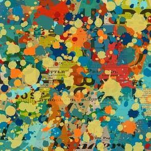 splatters & text collage-Autumn palette