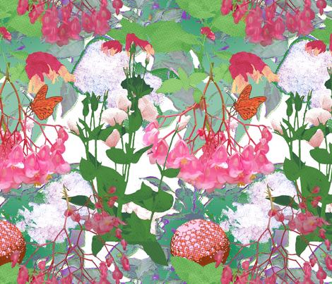 Pointillisms in the Pink Garden fabric by bloomingwyldeiris on Spoonflower - custom fabric