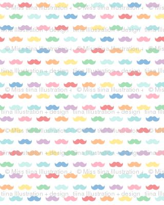 pastel rainbow moustaches XL