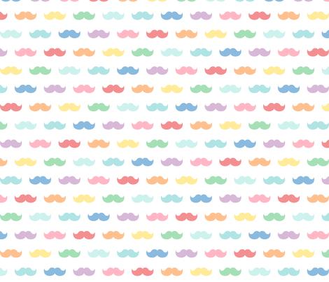 pastel rainbow moustaches XL fabric by misstiina on Spoonflower - custom fabric
