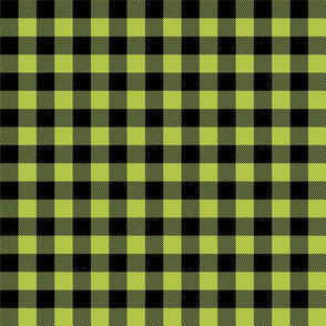buffalo plaid 1in lime green