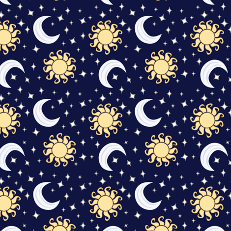 Suns and moons with stars fabric charleyzollinger for Fabric with moons and stars