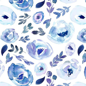 Winter Icy Blue Watercolor Floral