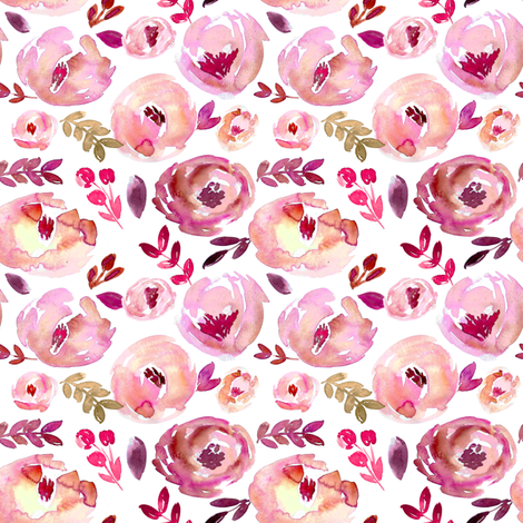 Valentine's Day Pink Magenta Red Loose Abstract Watercolor Florals  fabric by smallhoursshop on Spoonflower - custom fabric