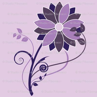 Stylized Flower - 6in (purple)