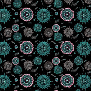 Boho Black and Turquoise Smaller Print